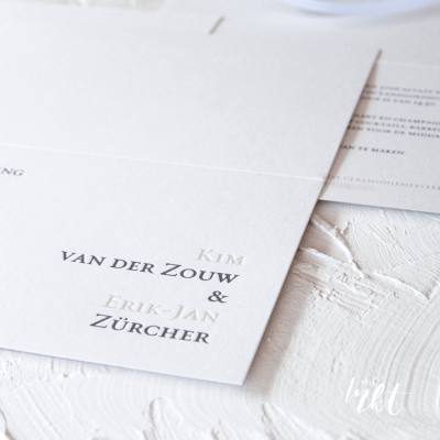 Letterpress trouwkaart typografie simpel