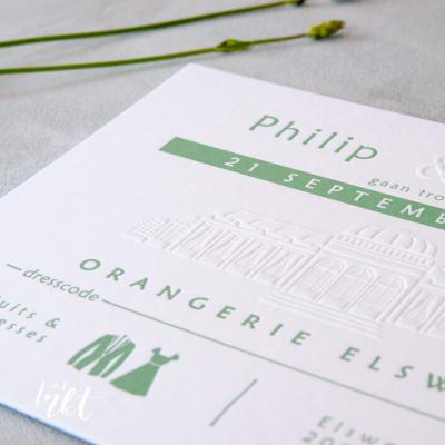 Letterpress trouwkaart Orangerie