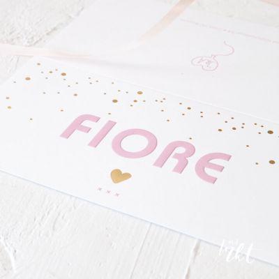 Letterpress geboortekaartje met gouden stipjes - confetti