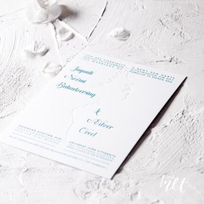 Letterpress trouwkaart met silhouet - minimalistisch