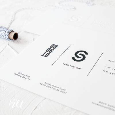 Letterpress trouwkaart - strak met logo