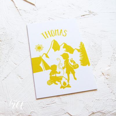Letterpress geboortekaartje op avontuur broertjes