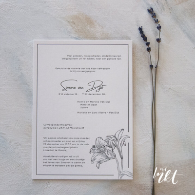 Rouwkaart met Lelies