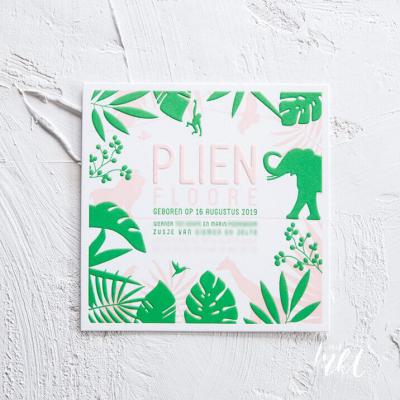 Oerwoud, tropisch letterpress geboortekaartje