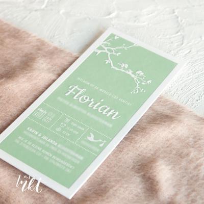 Letterpress geboortekaartje vogels - Florian