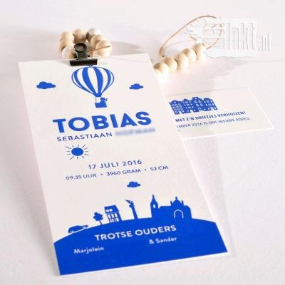 Letterpress geboortekaartjes luchtballon