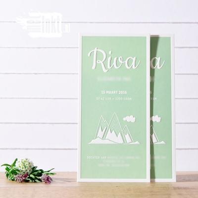 Letterpress geboortekaartje met bergen