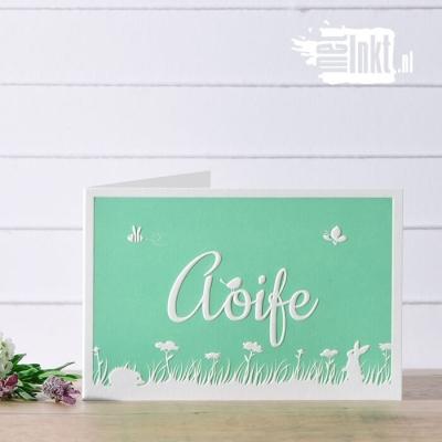 Letterpress geboortekaartje bloemenveld