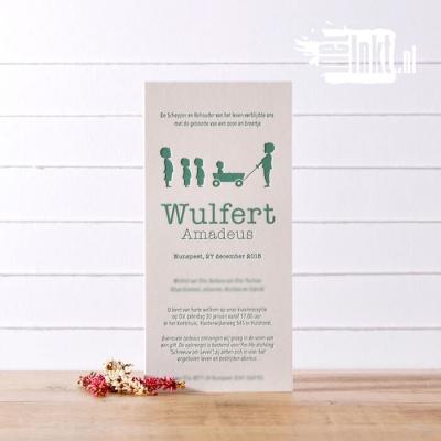 Letterpress geboortekaartje Wulfert