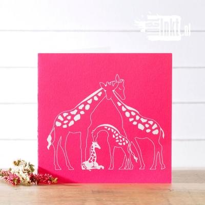 Letterpress geboortekaartje giraffen