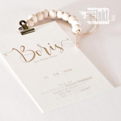 Letterpress geboortekaartje met krullende letters voor Boris