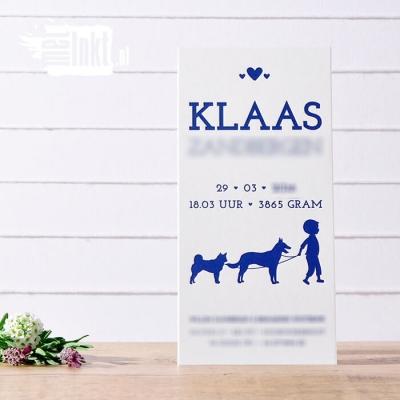 Letterpress geboortekaartje met honden