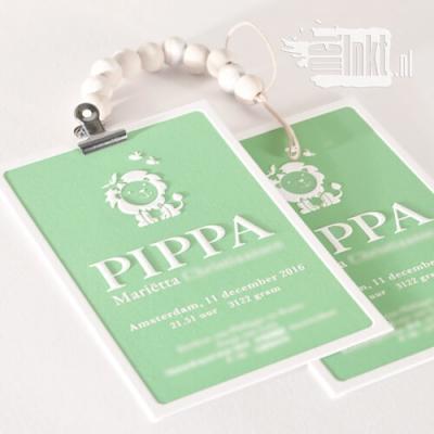 Letterpress geboortekaartje met leeuwin voor Pippa