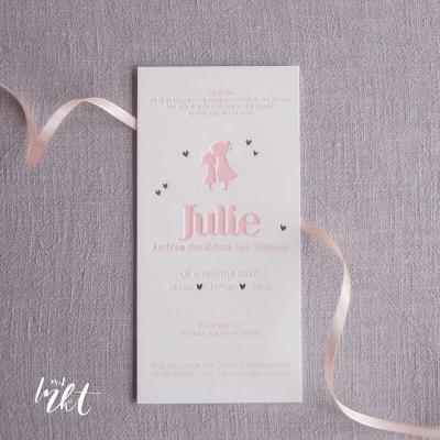 Letterpress geboortekaartje Zusjes