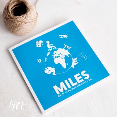 Letterpress geboortekaartje wereldbol Miles