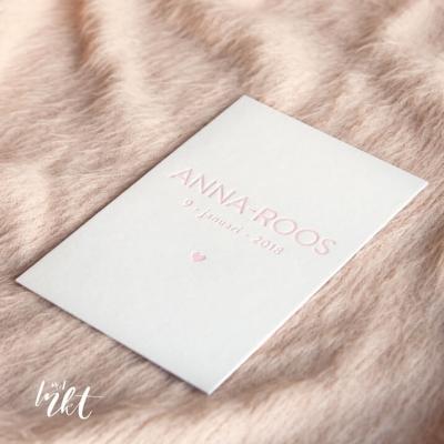 Letterpress geboortekaartje minimal - Anne-Roos
