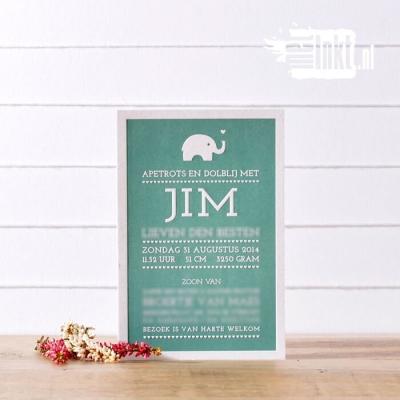 Letterpress geboortekaartje Jim