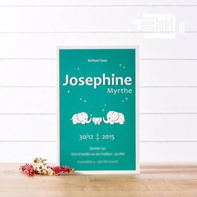 Letterpress geboortekaartjes Olifant Josephine
