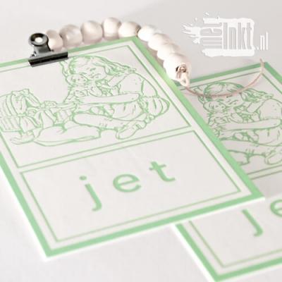Letterpress geboortekaartje aap noot mies
