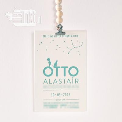 Letterpress geboortekaartje sterrenbeeld