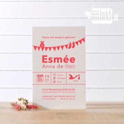 Letterpress geboortekaartjes vlaggetjes Esmee