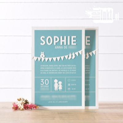 Letterpress geboortekaartje vlaggetjes Sophie