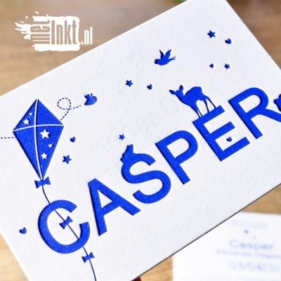 Letterpress geboortekaartje vlieger
