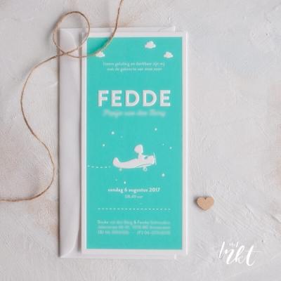 Letterpress geboortekaartje met vliegtuigje - Fedde