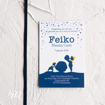 Letterpress geboortekaartje winter Feiko