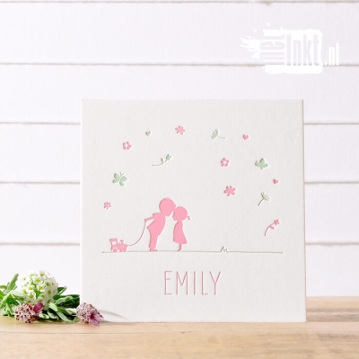 Letterpress geboortekaartje bloemetjes