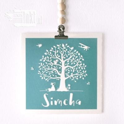 Letterpress geboortekaartje boom met vosje