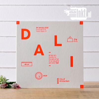 Letterpress geboortekaartje bijzondere typografie