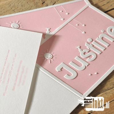 Letterpress geboortekaartje met preeg Justine