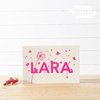 Letterpress geboortekaartje Pluisbloem Lara