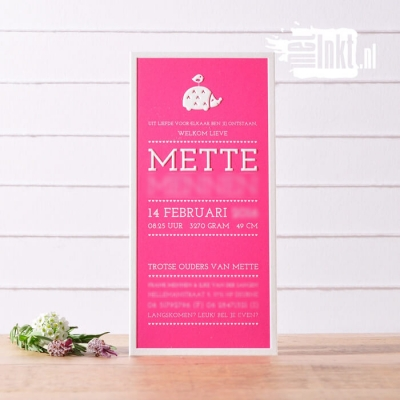 Letterpress geboortekaartje egeltje Mette