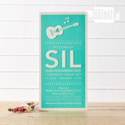 Letterpress geboortekaartje gitaar