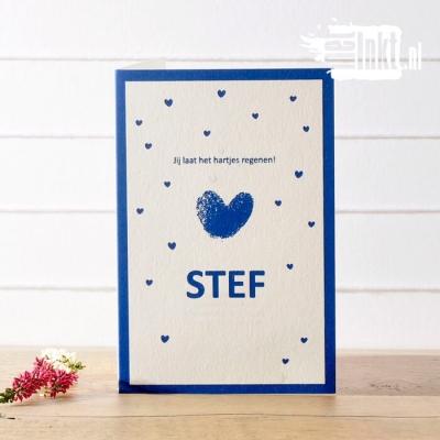 Letterpress geboortekaartje vingerafdruk Stef