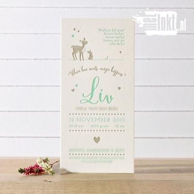 Letterpress geboortekaartje Hertje Liv