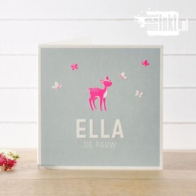 Letterpress geboortekaartje Hertje Vlinders Ella