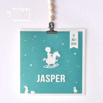 Letterpress geboortekaartje met hobbelpaard Jasper