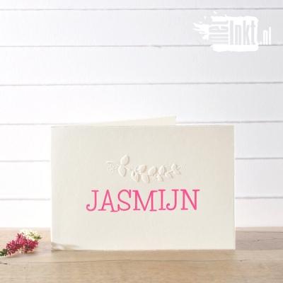 Letterpress geboortekaartje Jasmijn