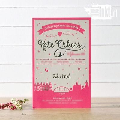 Letterpress geboortekaartje Sierlijk met Sterren