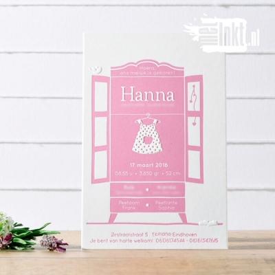 Letterpress geboortekaartje kledingkastje