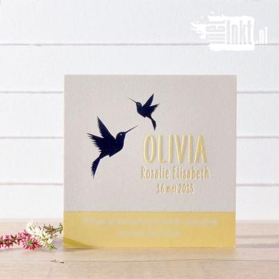 Letterpress geboortekaartje kolibri