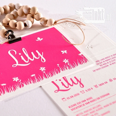 Letterpress geboortekaartje met lelies