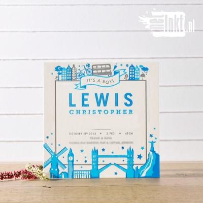Letterpress geboortekaartjes Londen