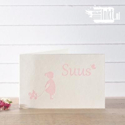 Letterpress geboortekaartje meisje met eekhoorn Suus