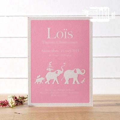 Letterpress geboortekaartje olifantenstoet