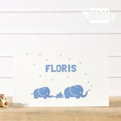 Letterpress geboortekaartje Olifantjes Floris