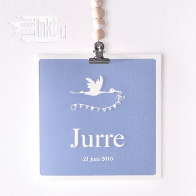 Letterpress geboortekaartje ooievaar Jurre